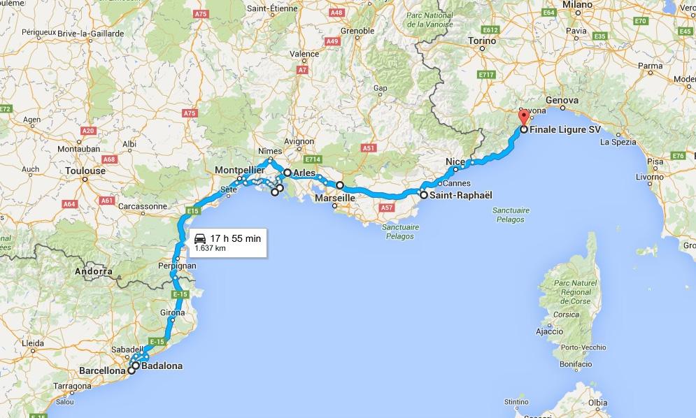 Cartina Costa Azzurra.Itinerario In Moto Costa Azzurra E Barcellona I Viaggi Di